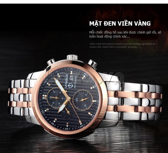 Đồng hồ cơ nam Vinoce V633229L mặt kính sapphire kiểu 6 kim chất lượng