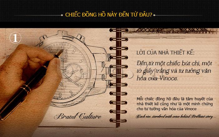 Đồng hồ cơ nam Vinoce V633229L mặt kính sapphire kiểu 6 kim bền đẹp