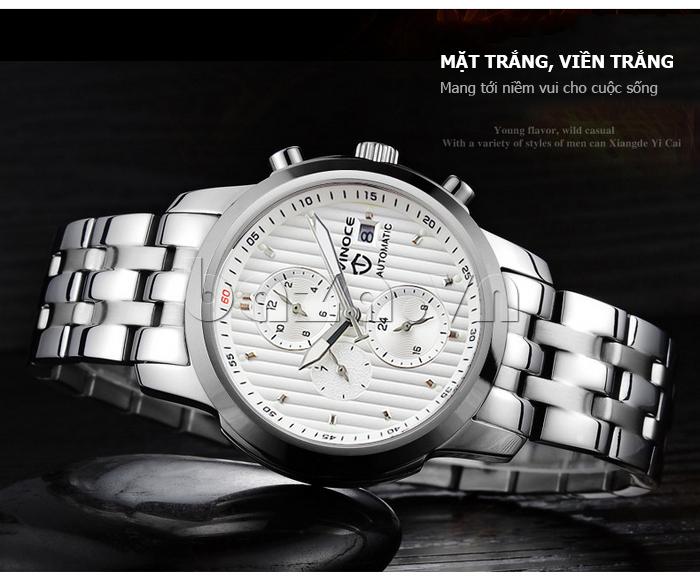 Đồng hồ cơ nam Vinoce V633229L mặt kính sapphire nổi bật