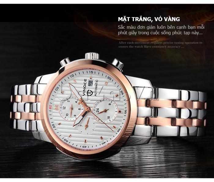 Đồng hồ cơ nam Vinoce V633229L mặt kính sapphire phong cách