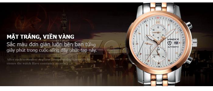 Đồng hồ cơ nam Vinoce V633229L mặt kính hoàn hảo
