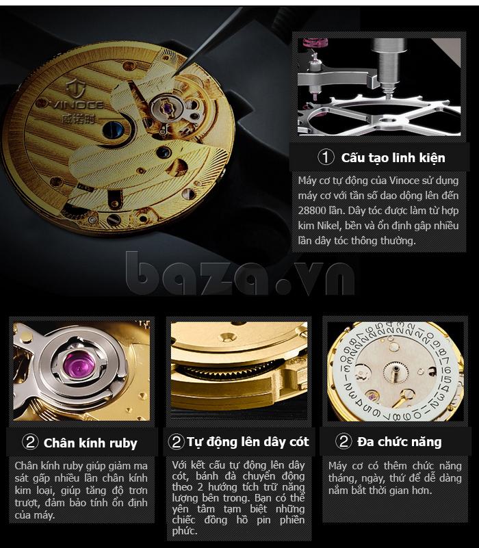 Đồng hồ cơ nam Vinoce V633229L mặt kính sapphire tuyệt vời