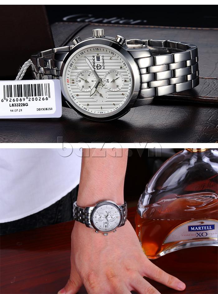 Đồng hồ cơ nam Vinoce V633229L mặt kính cao cấp