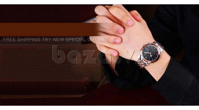 Đồng hồ cơ nam Vinoce V633229L mặt kính sapphire kiểu 6 kim thời trang