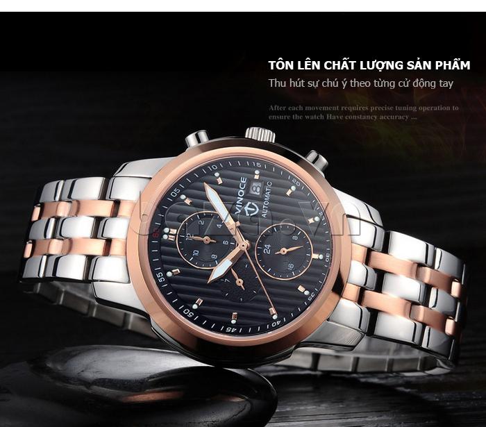 Đồng hồ cơ nam Vinoce V633229L mặt kính sapphire độc