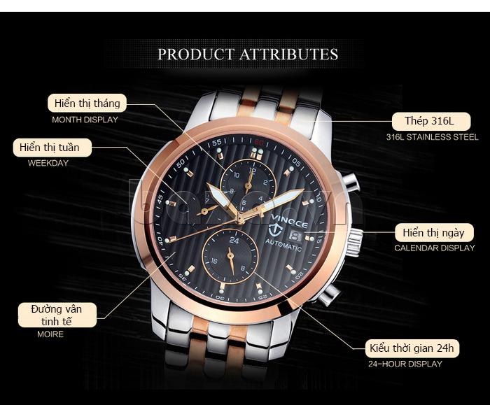 Đồng hồ cơ nam Vinoce V633229L mặt kính sapphire kiểu 6 kim hoàn hảo
