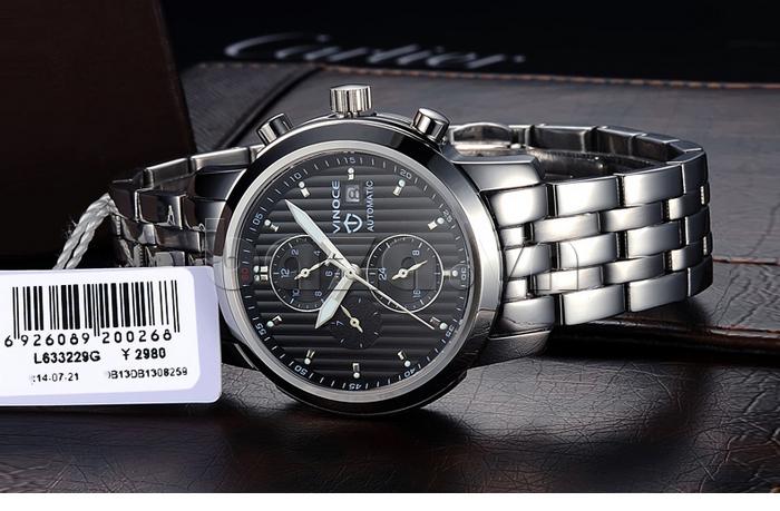 Đồng hồ cơ nam Vinoce V633229L mặt kính đẹp