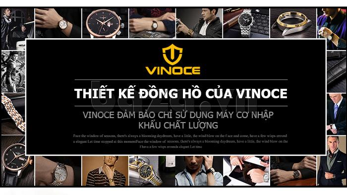 Đồng hồ cơ nam Vinoce V633229L mặt kính sapphire kiểu 6 kim đẹp