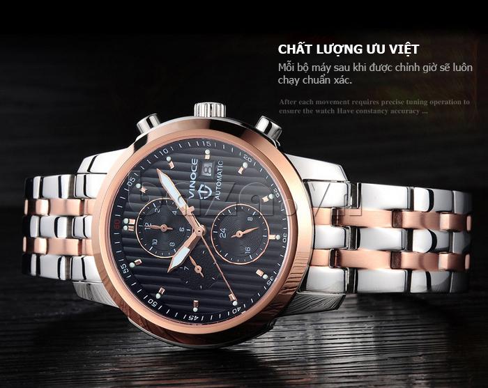 Đồng hồ cơ nam Vinoce V633229L mặt kính sapphire ấn tượng
