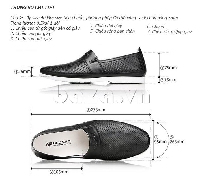 Kích thước của Giày lười nam thời trang Olunpo XZY1506