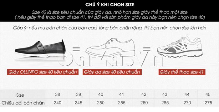 Góp ý chọn size Giày lười nam thời trang Olunpo XZY1506