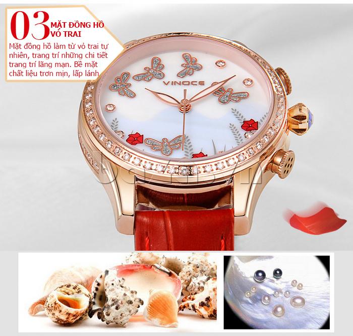 Đồng hồ nữ nước hoa đính pha lê Vinoce V6277L mặt vỏ trai tự nhiên