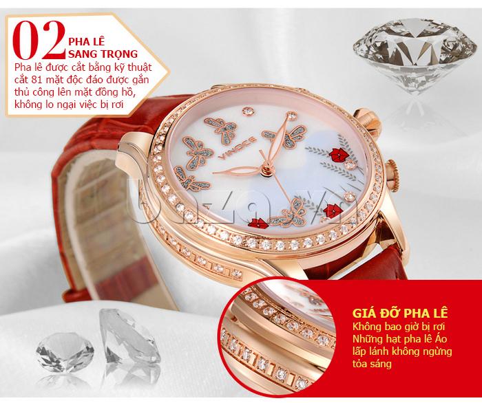 Đồng hồ nữ nước hoa đính pha lê Vinoce V6277L gắn pha lê sang trọng