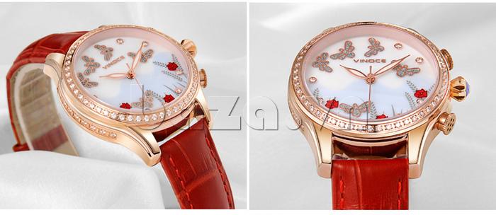 Đồng hồ nữ nước hoa đính pha lê Vinoce V6277L hoàn hảo mọi chi tiết