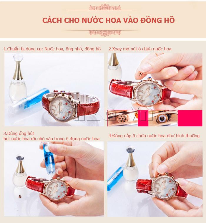 Đồng hồ nữ nước hoa đính pha lê Vinoce V6277L sự kết hợp nước hoa và đồng hồ tinh tế