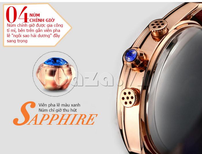 Đồng hồ nữ nước hoa đính pha lê Vinoce V6277L núm chỉnh giờ tỉ mỉ