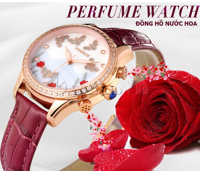 Đồng hồ nữ nước hoa đính pha lê Vinoce V6277L sang trọng đẳng cấp