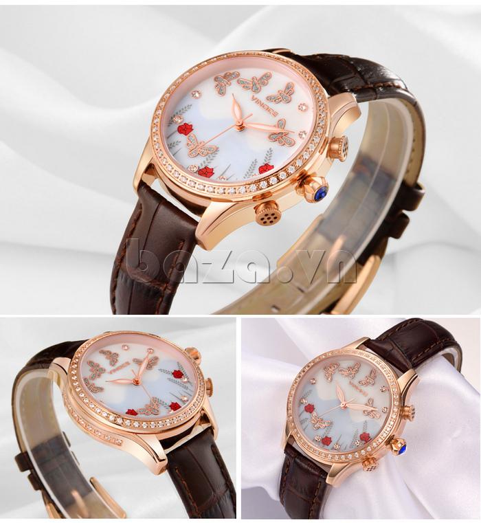 Đồng hồ nữ nước hoa đính pha lê Vinoce V6277L dây da sang trọng