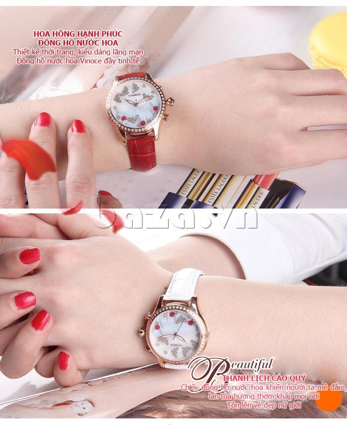Đồng hồ nữ nước hoa đính pha lê Vinoce V6277L hoa hồng hạnh phúc