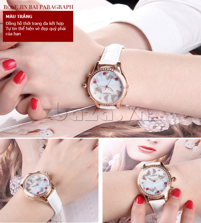 Đồng hồ nữ nước hoa đính pha lê Vinoce V6277L màu trắng tinh khôi