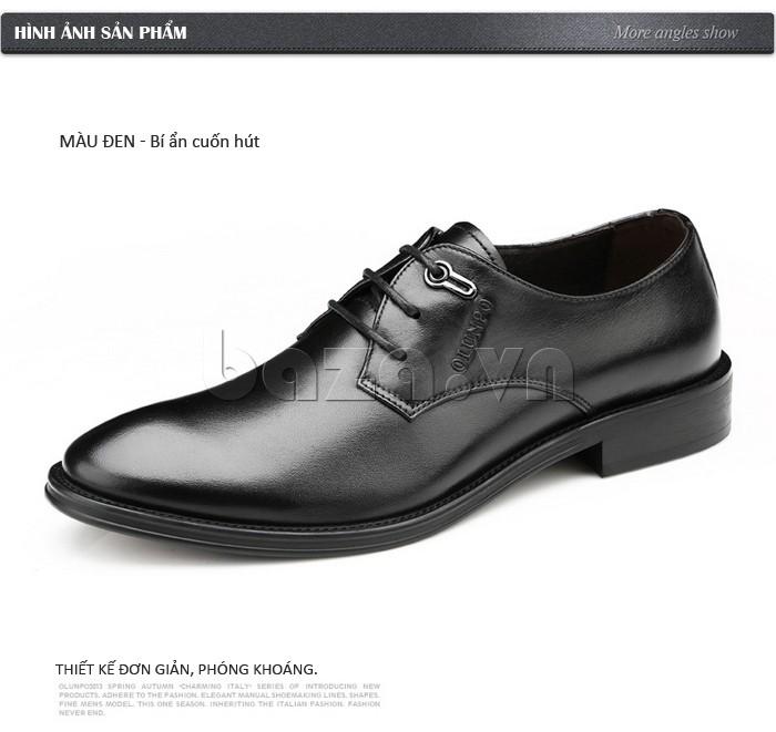 giày da Olumpo QYS1301 thiết kế đơn giản phóng khoáng với màu đen bí ẩn cuốn hút