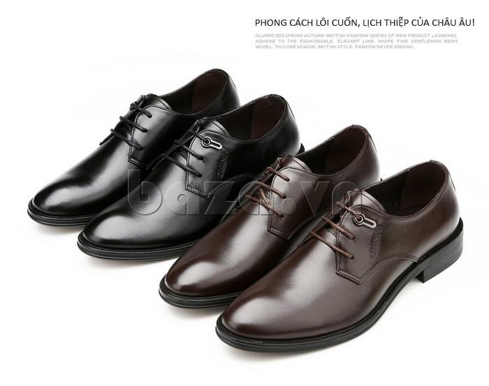 giày da Olumpo QYS1301 chất liệu da bò sáng bóng, dễ lau chùi và bảo quản
