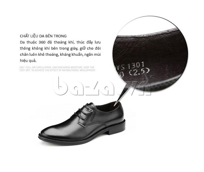 chất liệu da bên trong của giày da Olumpo QYS1301 giúp chân luôn khô thoáng, sạch sẽ