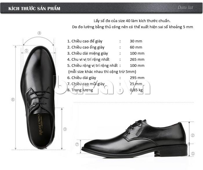 Kích thước sản phẩm cụ thể của giày da Olumpo QYS1301