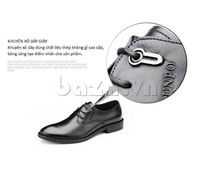 giày da Olumpo QYS1301 thiết kế khuyên xỏ dây giày không hoen gỉ mà rất sáng bóng