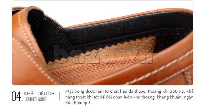 Lót bên trong giày chất liệu da thuộc thoáng khí 360 độ