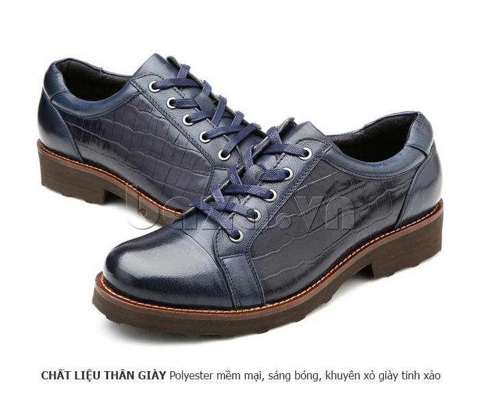 Giày da nam Olunpo QZK1405 được sử dụng chất liệu thân giày sáng bóng