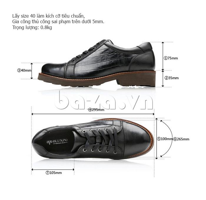 thông số của Giày da nam Olunpo QZK1405
