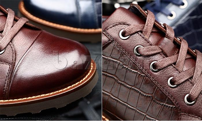 Giày da nam Olunpo QZK1405 khuyên xỏ ấn tượng