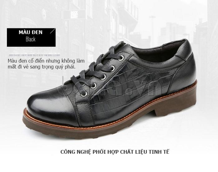 Giày da nam Olunpo QZK1405 màu đen tinh tế