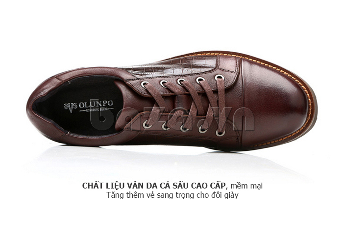 Giày da nam Olunpo QZK1405 sử dụng chất liệu vân da cá sấu