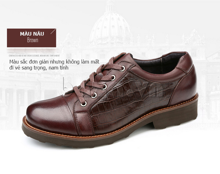 Giày da nam Olunpo QZK1405 màu sắc đơn giản nwhng bắt mắt