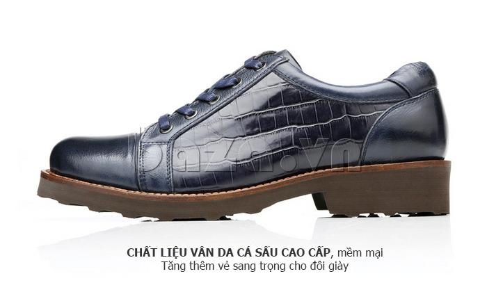 Giày da nam Olunpo QZK1405 chất liệu vân da cá sấu mềm mại