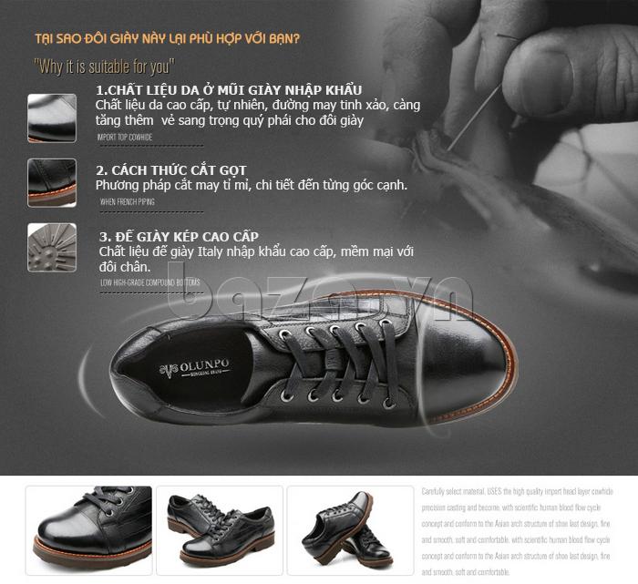 Giày da nam Olunpo QZK1405 giày nam thông minh