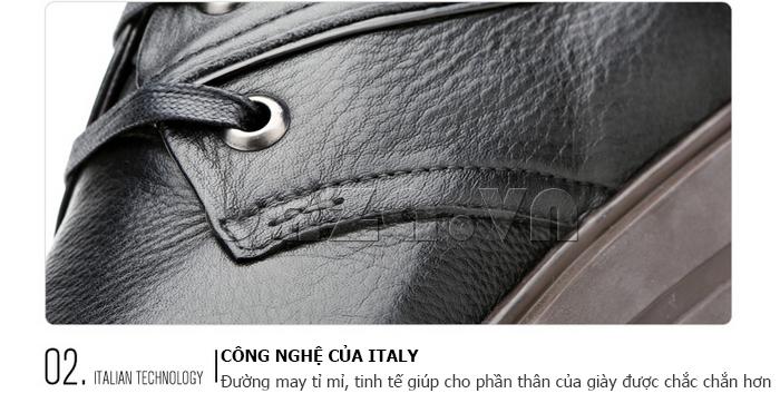 Giày da nam Olunpo QZK1404 sử dụng công nghệ may của Italy