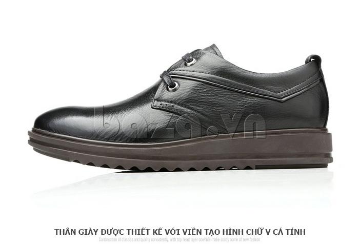 Giày da nam Olunpo QZK1404 màu đen dễ phối đồ