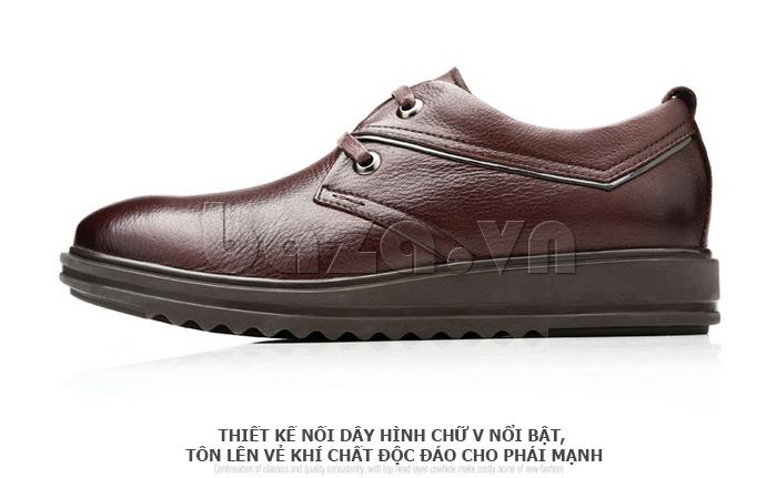 Giày da nam Olunpo QZK1404 thiết kế nối dây hình chữ V