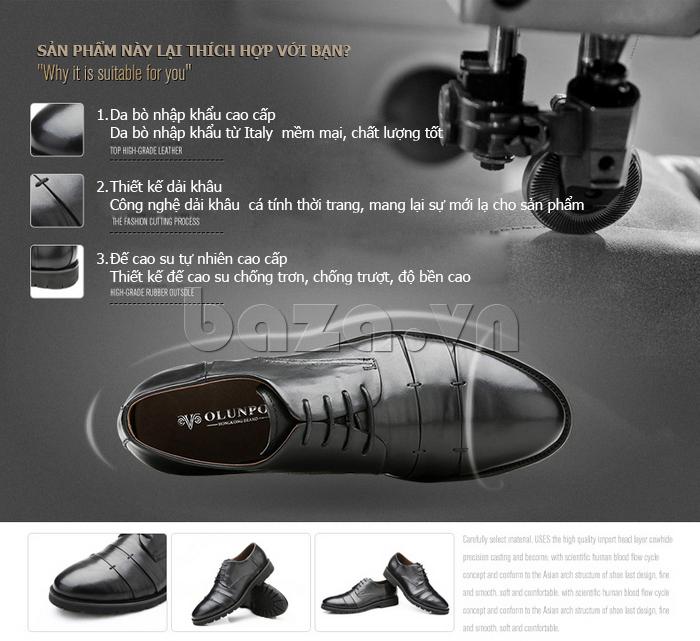 Giày da nam Olunpo QDT1404 đẳng cấp cho thương hiệu
