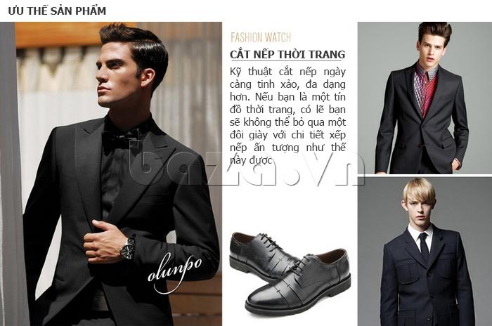Giày da nam Olunpo QDT1404 cắt nếp thời trang