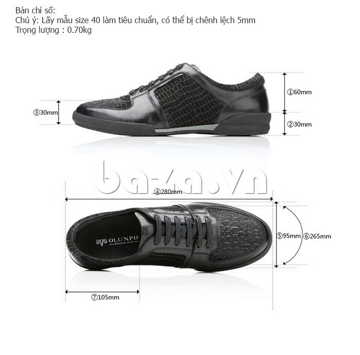 Kích thước của Giày da nam Olunpo QHT1425