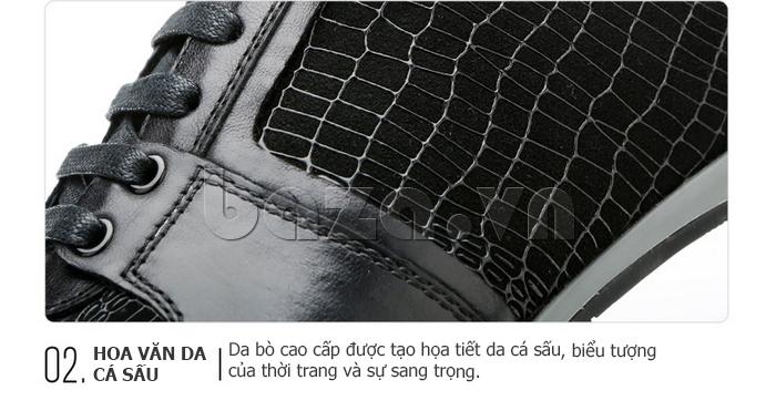 Giày da nam Olunpo QHT1425 thiết kế hoa văn da cá sáu