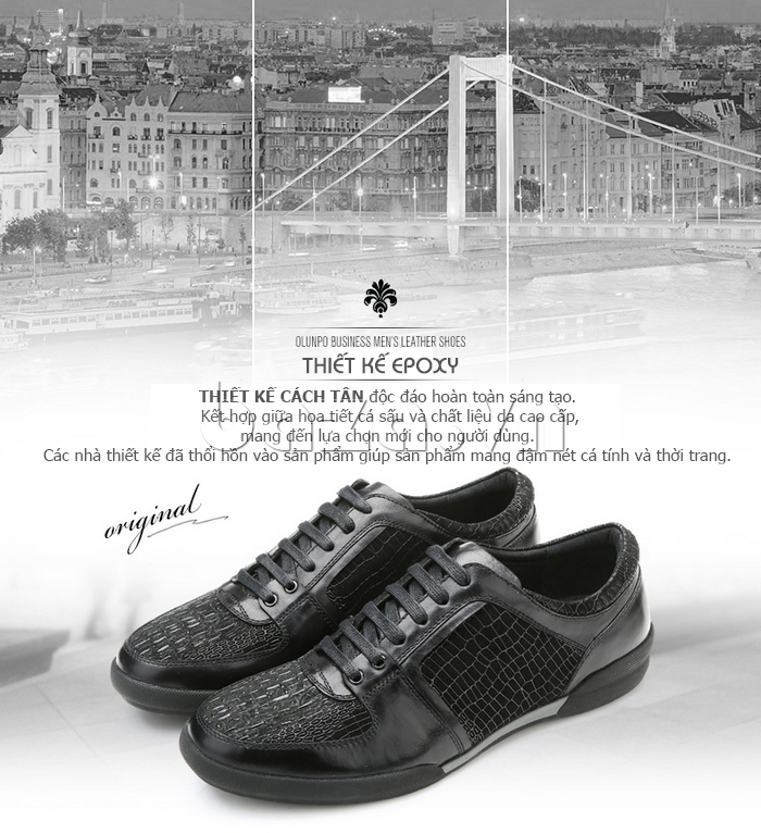 Giày da nam Olunpo QHT1425 độc đáo và sang trọng