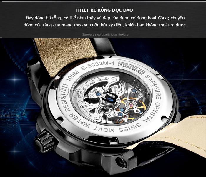 Đồng hồ nam rỗng hai mặt Binger BG001