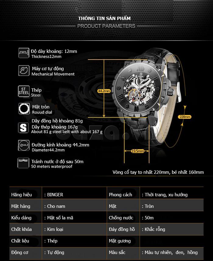 Đồng hồ cơ nam Binger BG001