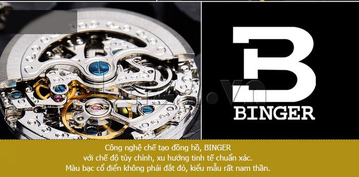 Đồng hồ nam chân kính ruby Binger BG001