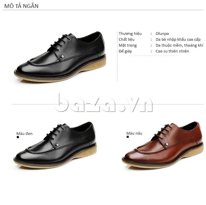 Giầy da nam thời trang Olunpo XL03004 - Dòng giày da bò cao cấp